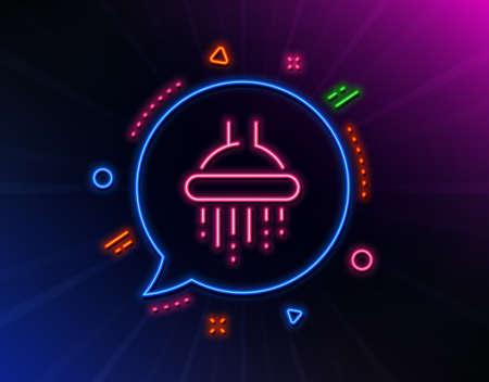 Shower line icon. Neon laser lights. Bathroom sign.