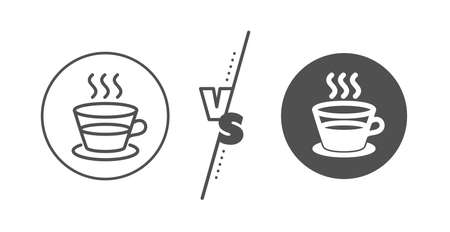 Hot drink sign. Versus concept. Coffee and Tea line icon. 일러스트