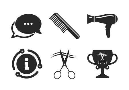Scissors cut hair symbol. Chat, info sign. Hairdresser icons.  イラスト・ベクター素材