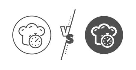 Frying stopwatch sign. Versus concept. Cooking timer line icon. Food preparation symbol. 일러스트