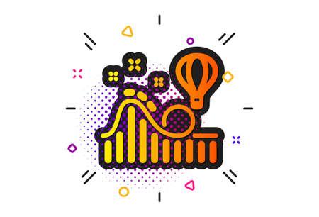 Amusement park sign. Halftone circles pattern. Roller coaster icon. Stock Vector - 129338018