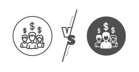 Group of people with Dollar signs. Versus concept. Business networking line icon.