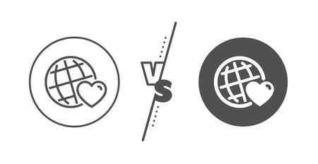 Friendship love sign. Versus concept. Friends world line icon. Ilustração