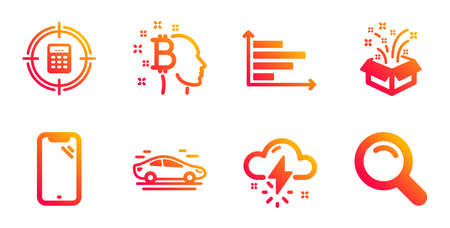 Smartphone, Car and Thunderstorm weather line icons set.