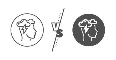 Psychology sign. Versus concept. Mindfulness line icon.