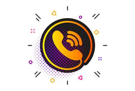 Phone support sign. Halftone circles pattern. Call center service icon. Ilustração
