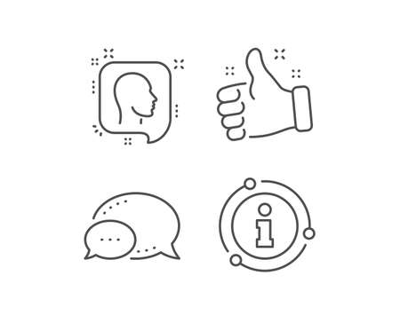 Head line icon. Chat bubble, info sign elements. Human profile speech bubble sign. Facial identification symbol. Linear head outline icon. Information bubble. Vector