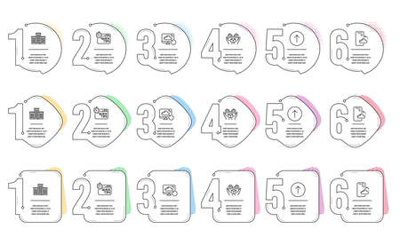 Company, Recovery cloud and Smartphone cloud line icons set. Infographic timeline. Quick tips, Swipe up and Hold box signs. Building, Backup info, Phone backup. Helpful tricks. Technology set. Vector  イラスト・ベクター素材