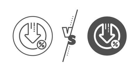 Discount sign. Versus concept. Loan percent decrease line icon.