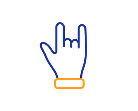 Two fingers palm sign. Horns hand line icon. Gesture symbol. Illustration