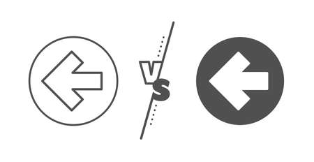 Direction Arrowhead symbol. Versus concept. Left arrow line icon. 일러스트