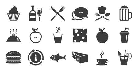 Set of Food and Drinks icons. Information, chat bubble icon.