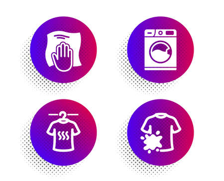 Dry t-shirt, Washing cloth and Washing machine icons simple set. Ilustrace