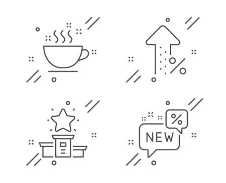 Coffee cup, Winner podium and Increasing percent line icons set.