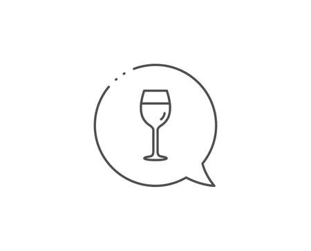 Wine glass line icon. Chat bubble design. Bordeaux glass sign. Outline concept. Иллюстрация