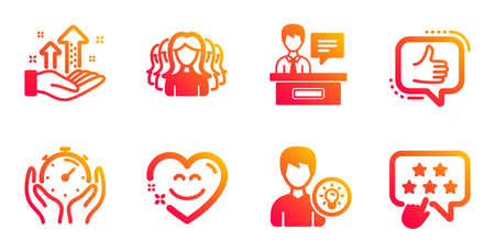 Like, Person idea and Women group line icons set.  イラスト・ベクター素材
