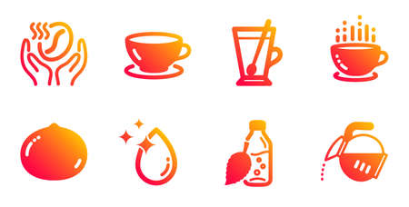 Macadamia nut, Water drop and Tea mug line icons set. Coffee, Water bottle and Coffee cup signs.