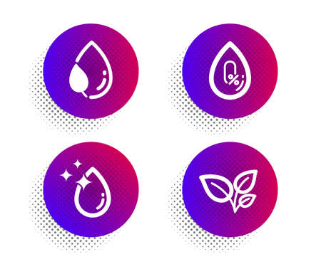 Water drop, No alcohol and Leaf dew icons simple set. Illustration