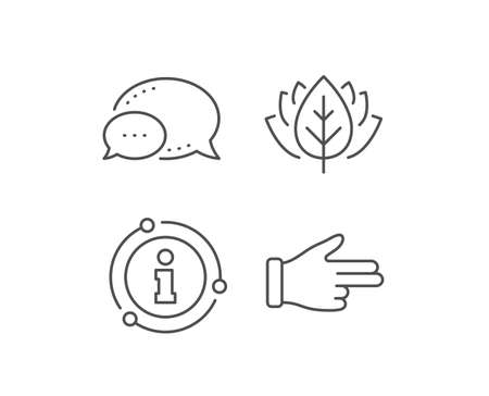 Click hand line icon. Chat bubble, info sign elements. Two fingers palm sign. Direction gesture symbol. Linear click hand outline icon. Information bubble. Vector Stok Fotoğraf - 129279139