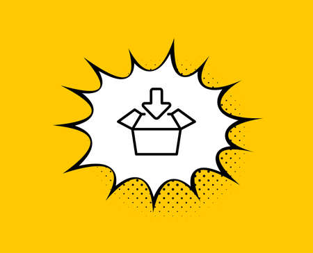 Get box line icon. Comic speech bubble. Open delivery parcel sign. Ilustração