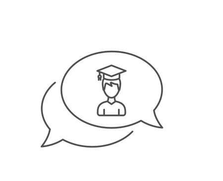 Man in Graduation cap line icon. Chat bubble design.