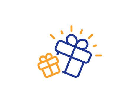 Present box sign. Gifts line icon. Brand marketing symbol.