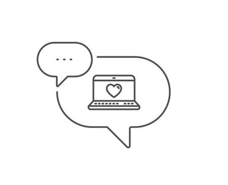 Love dating line icon. Chat bubble design.