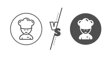 Sous-chef sign. Versus concept. Cooking chef line icon. Ilustracja