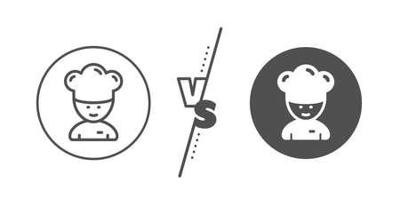 Sous-chef sign. Versus concept. Cooking chef line icon. Ilustração