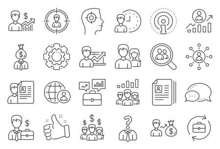 Human Resources, head hunting line icons. Illustration