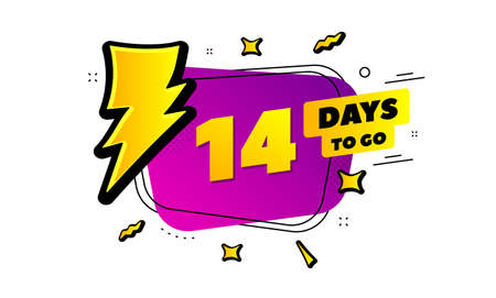 14 days to go sign. Lightning bolt badge. Fourteen days left icon.