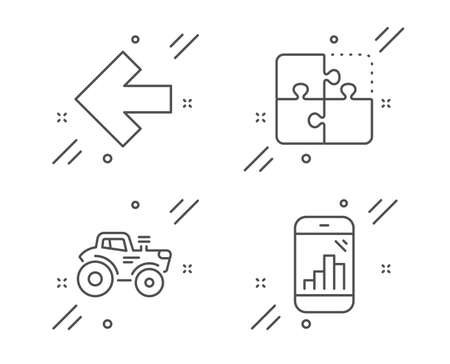 Left arrow, Tractor and Puzzle line icons set. Graph phone sign. Direction arrow, Farm transport, Engineering strategy. Mobile statistics. Technology set. Line left arrow outline icon. Vector