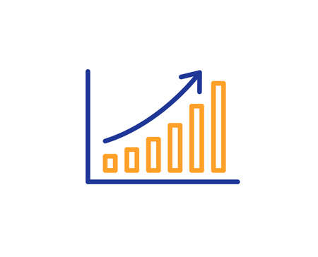 Column chart sign. Graph line icon. Growth diagram symbol. Colorful outline concept. Blue and orange thin line graph chart icon. Vector
