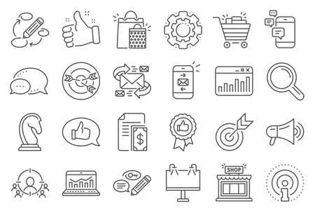 Marketing, research line icons. Çizim