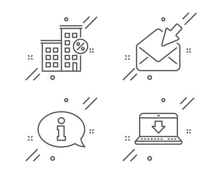 Information, Loan house and Open mail line icons set. Illustration
