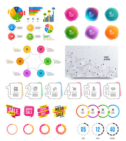 Infographic elements. Financial graph, timelines, options banner badges.