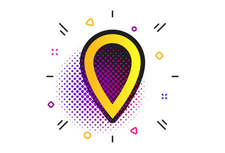 Map pointer sign icon. Halftone dots pattern. Location marker symbol. Illustration