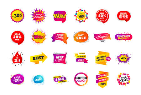 Sale banner badge. Special offer discount tags. Coupon shape templates design. Ilustração