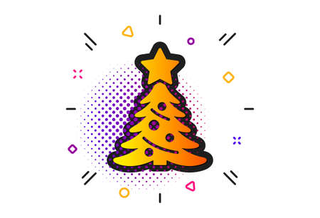 New year spruce sign. Halftone circles pattern. Christmas tree present icon.