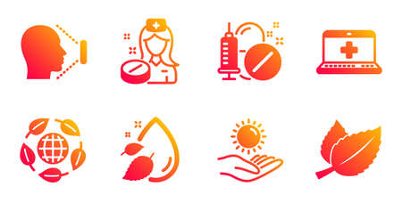Medical help, Sun protection and Medical drugs line icons set. Standard-Bild - 129319369
