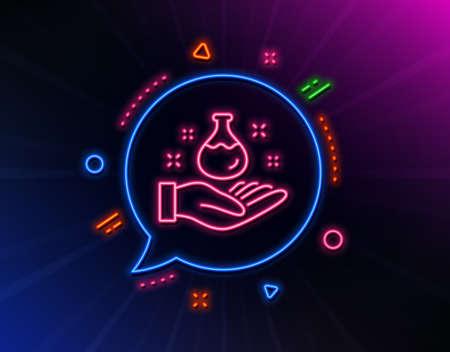 Chemistry lab line icon. Neon laser lights. Laboratory flask sign. Ilustração