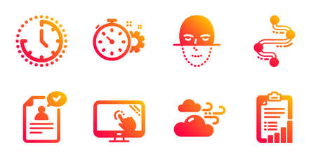 Touch screen, Timeline and Face recognition line icons set.