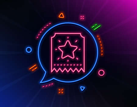 Loyalty star ticket line icon. Neon laser lights. 일러스트