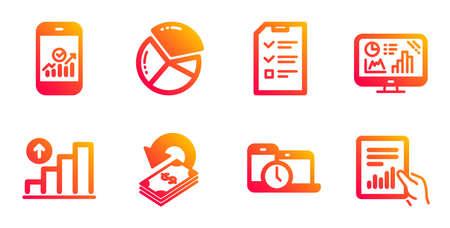 Cashback, Time management and Smartphone statistics line icons set. Иллюстрация