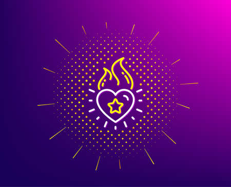 Heart flame line icon. Halftone pattern. Love fire emotion sign. Valentine day symbol. Gradient background. Heart flame line icon. Yellow halftone pattern. Vector  イラスト・ベクター素材
