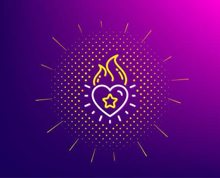 Heart flame line icon. Halftone pattern. Love fire emotion sign. Valentine day symbol. Gradient background. Heart flame line icon. Yellow halftone pattern. Vector Standard-Bild - 129394595