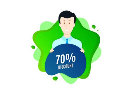 70% Discount. Cut out people badge. Sale offer price sign. Special offer symbol. Dynamic shape offer. Discount text. Cut out people dynamic banner. Worker person badge. Vector