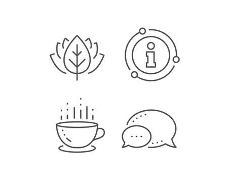 Coffee cup line icon. Chat bubble, info sign elements. Hot tea drink sign. Hotel service symbol. Linear coffee cup outline icon. Information bubble. Vector