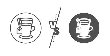 Hot drink sign. Versus concept. Tea with bag line icon. Fresh beverage symbol. Line vs classic tea icon. Vector Ilustração