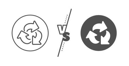 Recycling waste symbol. Versus concept. Recycle arrow line icon. Reduce and Reuse sign. Line vs classic recycle icon. Vector